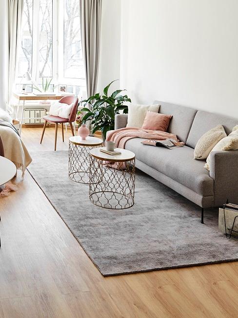 1-Zimmer-Wohnung mit grauem Sofa, Teppich und rosa Stuhl