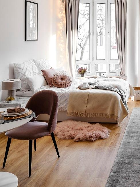 Schlafbereich in 1-Zimmer-Wohnung
