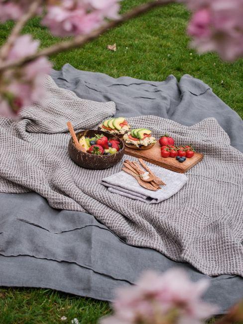 Manta de picnic gris con comida de picnic sobre el césped