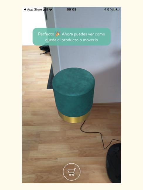 Colocación de taburete en la aplicación de realidad aumentada de Westwingnow