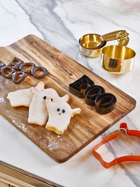 Ghost cookies in kitchen