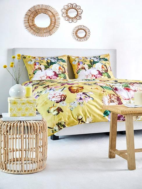 Bedroom with flower bedding