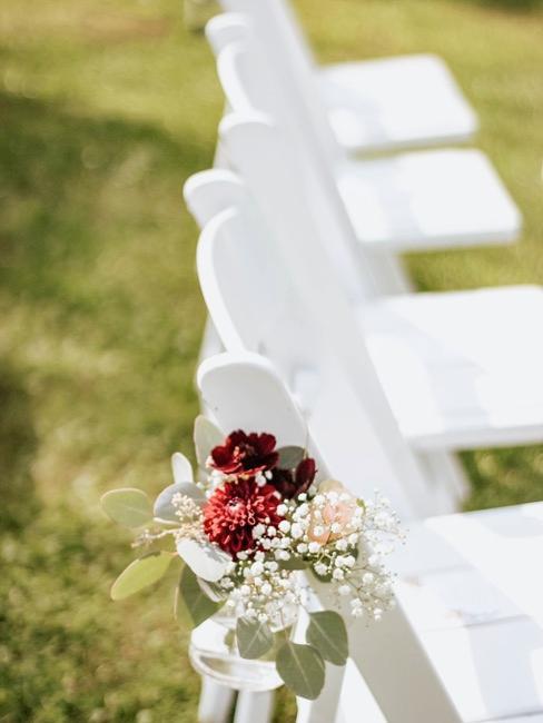 Baby's breath in glass vase for wedding