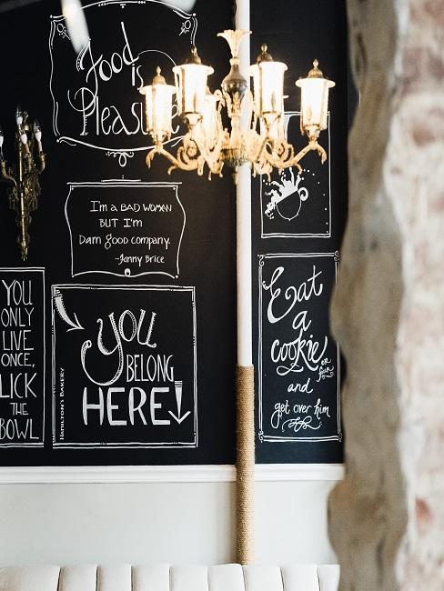 Chalk board on the wall as decoration