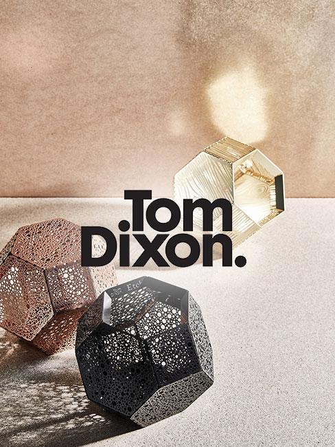 Drei Tom Dixon Leuchten in unterschiedlichen Farben