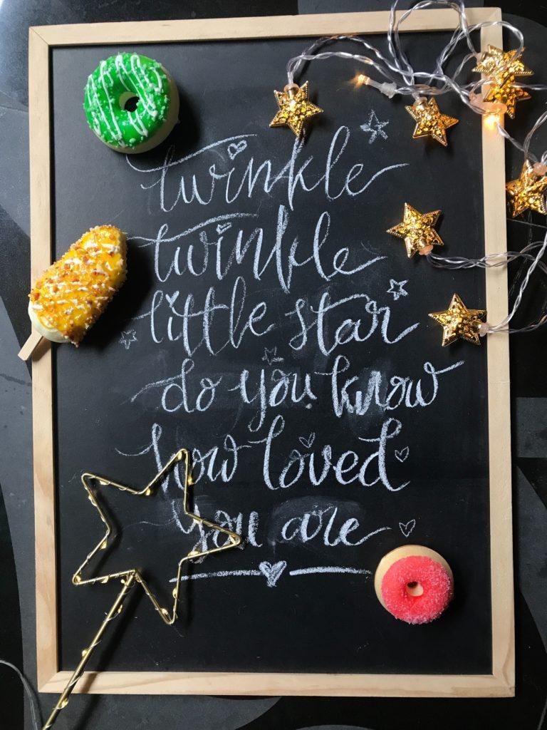 Kreidetafel mit Weihnachtsdeko