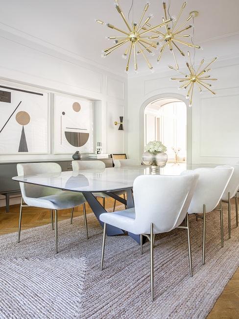 Designer Esszimmer weiße Stühle