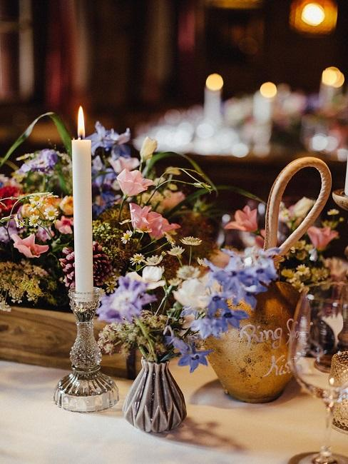 Tischdeko Hochzeit Blumen Kerzen Vasen