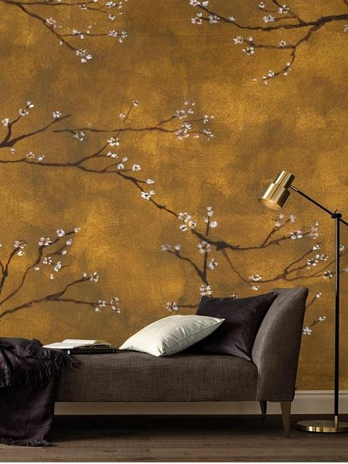 Chinesische Tapete im Wohnzimmer