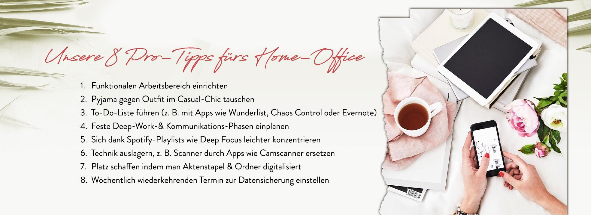 homeoffice Tipps Handy Tablet Kaffee Blumen