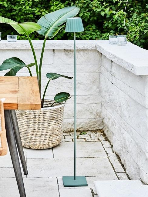 Steinterasse mit Pflanze und Outdoorlampe
