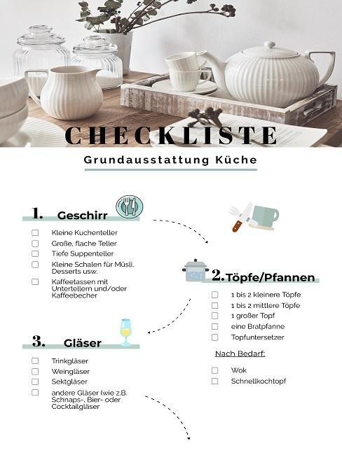 Checkliste für die Grundausstattung in der Küche