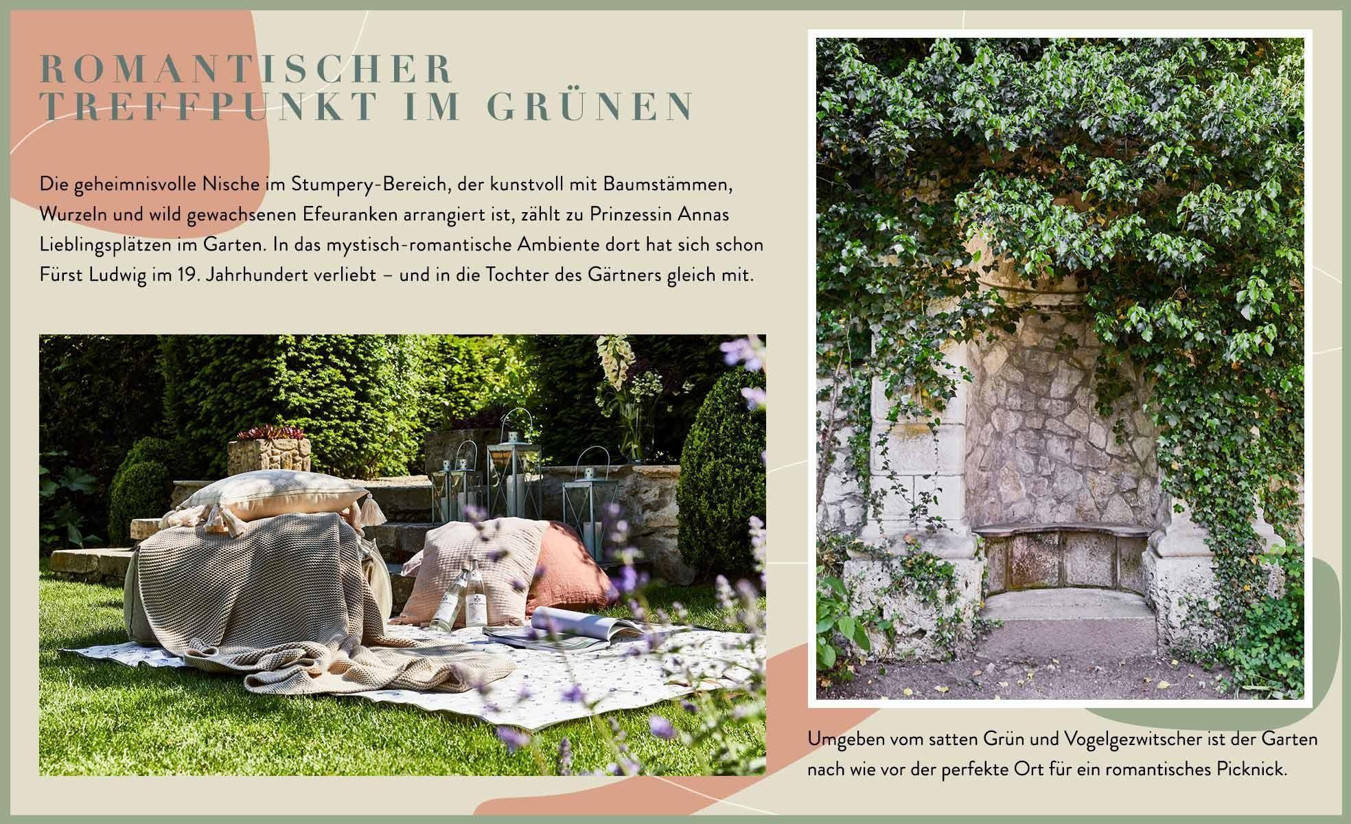 Wallerstein Gardens Informationen Stumpery Picknick Sitzgelegenheiten