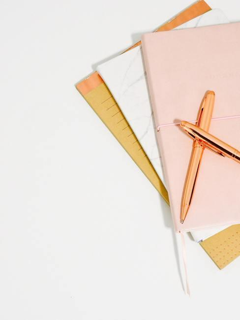 Cahiers avec stylo rose gold