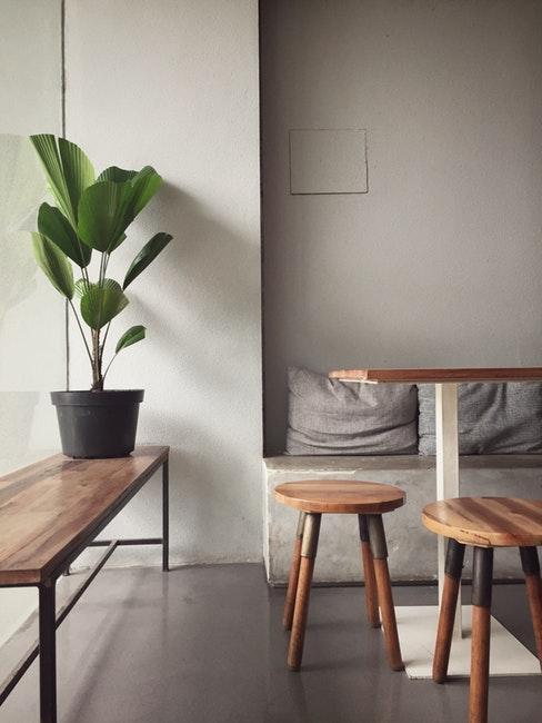 Banc en bois avec plante verte et deux tabourets en bois dans un intérieur gris