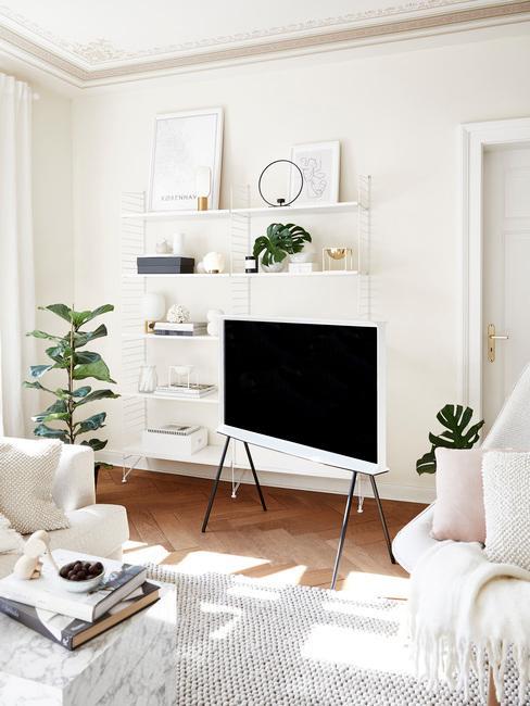 Télé sur pieds dans salon blanc