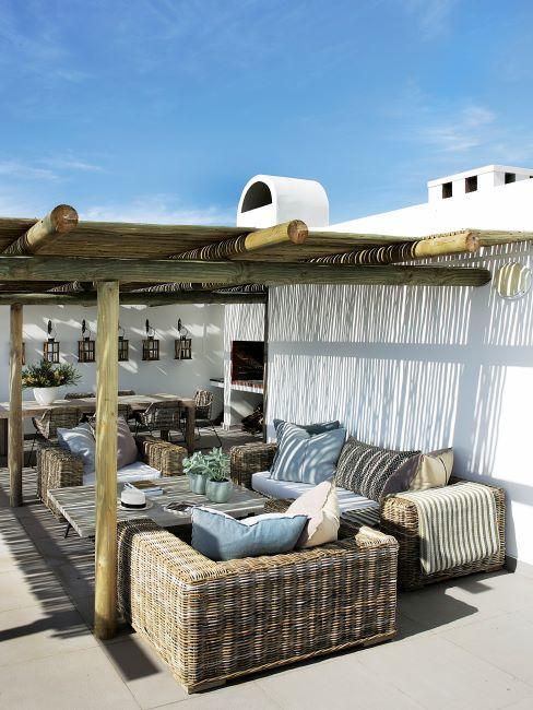 salon de terrasse en osier