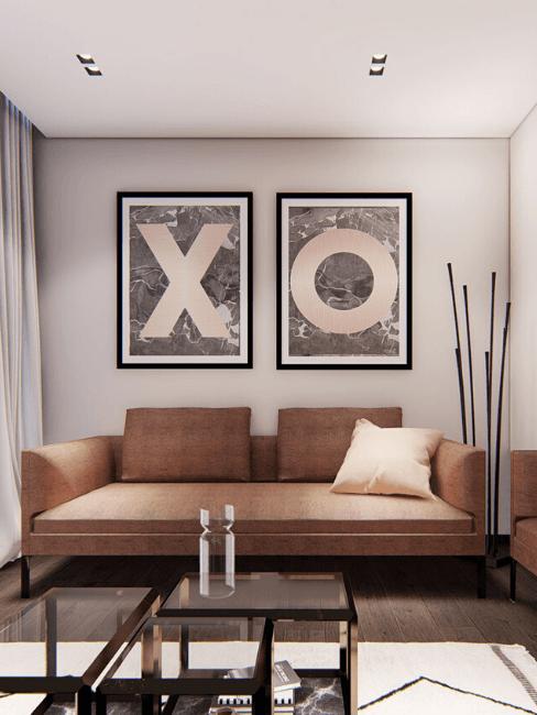 progetto salotto con divano marrone e quadri