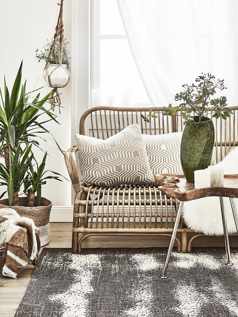 Rotan zitbank met plnt, bijzettafel en hangende macramé plantenpot