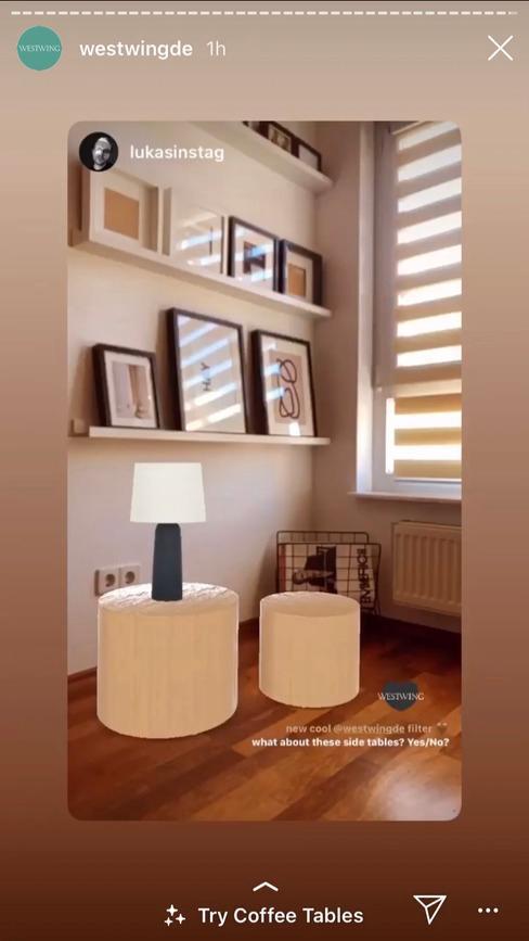 Zrzut ekranu z aplikacji Instagram z filtrem rozszerzonej rzeczywistości