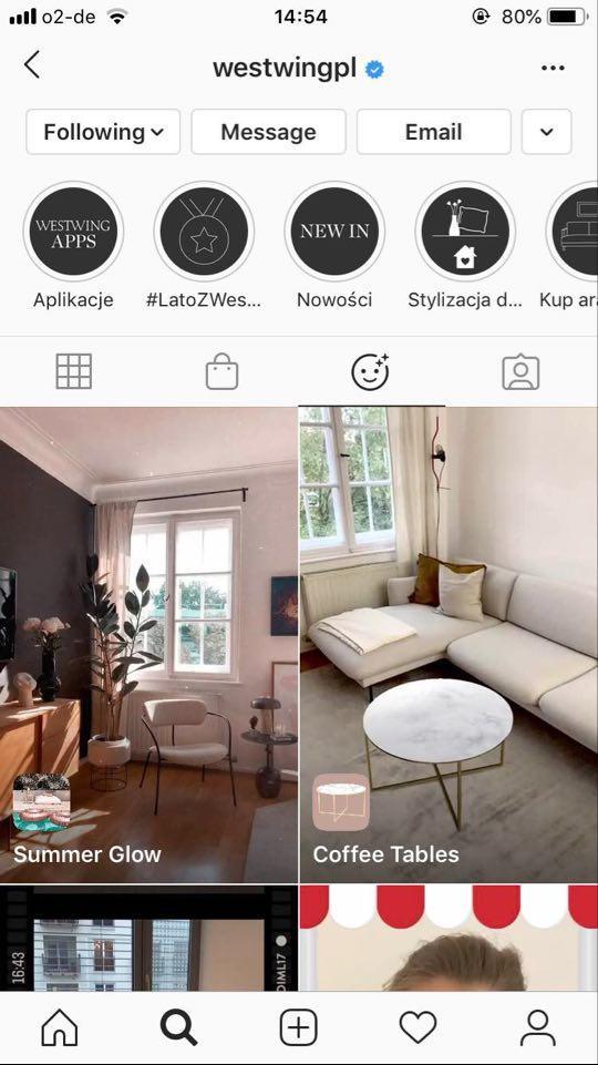 Zrzut ekranu z aplikacji Instagram