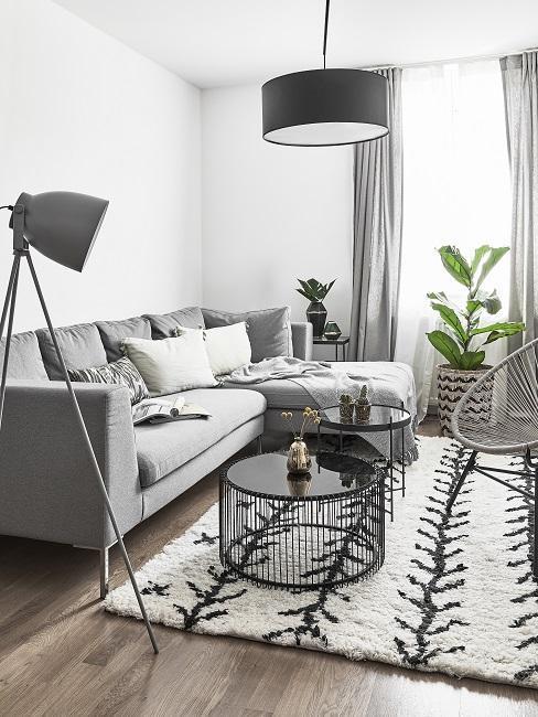 Biały salon z szarą sofą i lampą oraz dwoma okrągłymi stolikami kawowymi z metalu oraz dwie rośliny