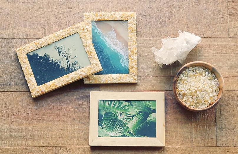 DIY Bilderrahmen mit Steinchen