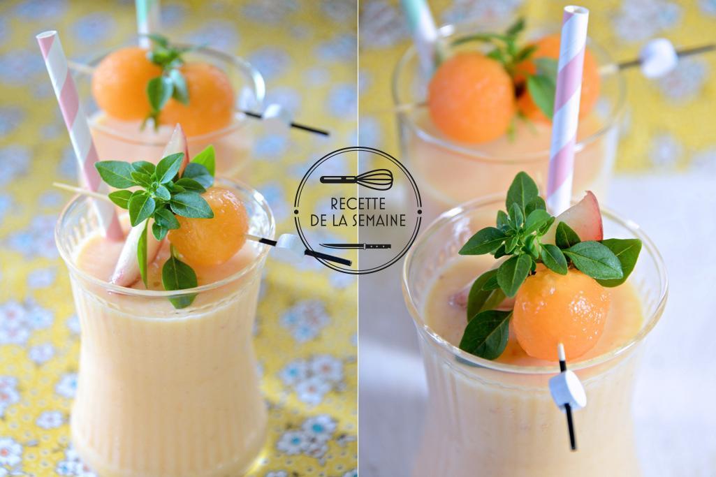 Smoothie melon pêche et vanille vu par le blog B comme Bon