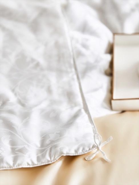 Ausschnitt von weißer Seidenbettwäsche und beigem Seidenkissen
