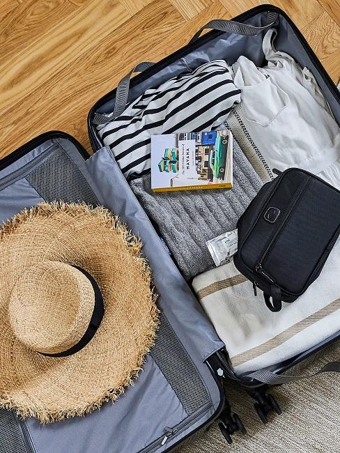 Koffer mit Hut und Kulturbeutel