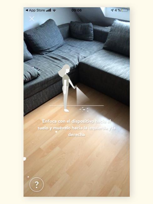 Colocando una alfombra en la aplicación de realidad aumentada de Westwingnow