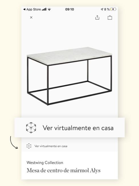Mesa de centro en el menú de la aplicación de realidad aumentada de Westwingnow