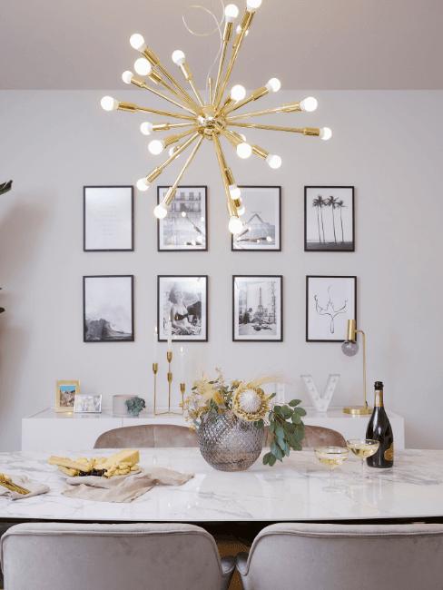 Sala da pranzo con lampadario moderno