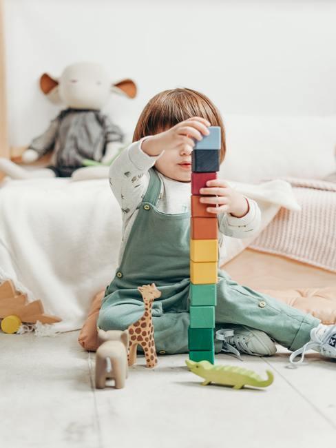 Speelgoed in de kinderkamer op een zacht wit vloerkleed