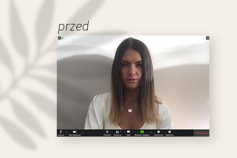 Osoba w czasie wideokonferencji na zoom