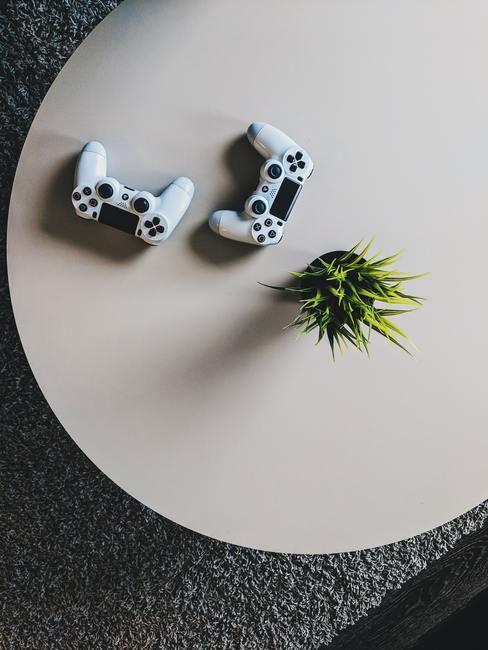 Deux manettes de jeux posées sur une table blanche avec une plante