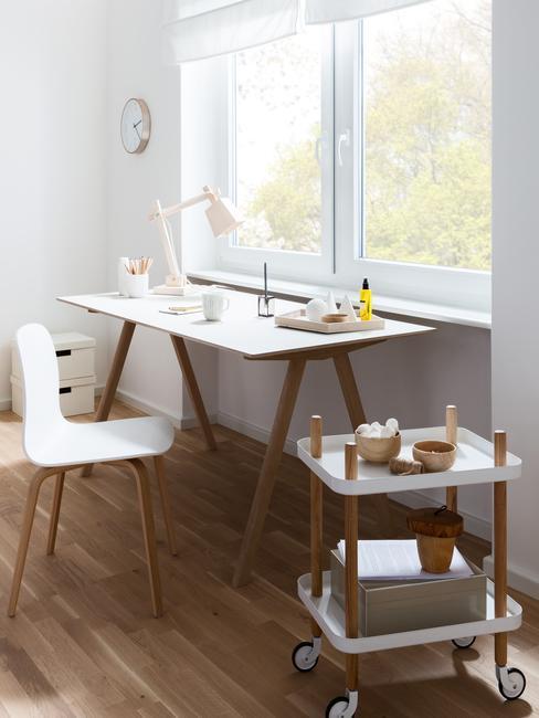 Buirko z białym blatem i drewnianymi nogami wraz z białym krzesłem stojące przy oknie