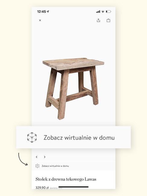 Screenshot z aplikacji z WestwingNow z drewnianym stołkiem