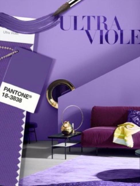 Ultra violetto come pittura murale in soggiorno