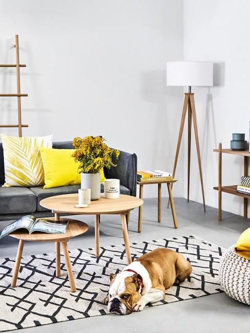 Salon w stylu skandynawskim z antracytową kanapą, drewnianymi stolikami, regałem oraz żółtymi dekoracjami
