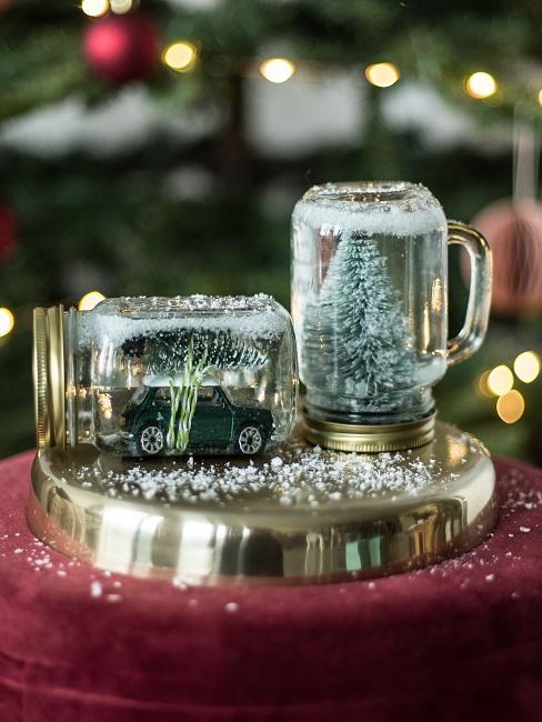 Gläser dekorieren Weihnachten Kunstschnee Figuren