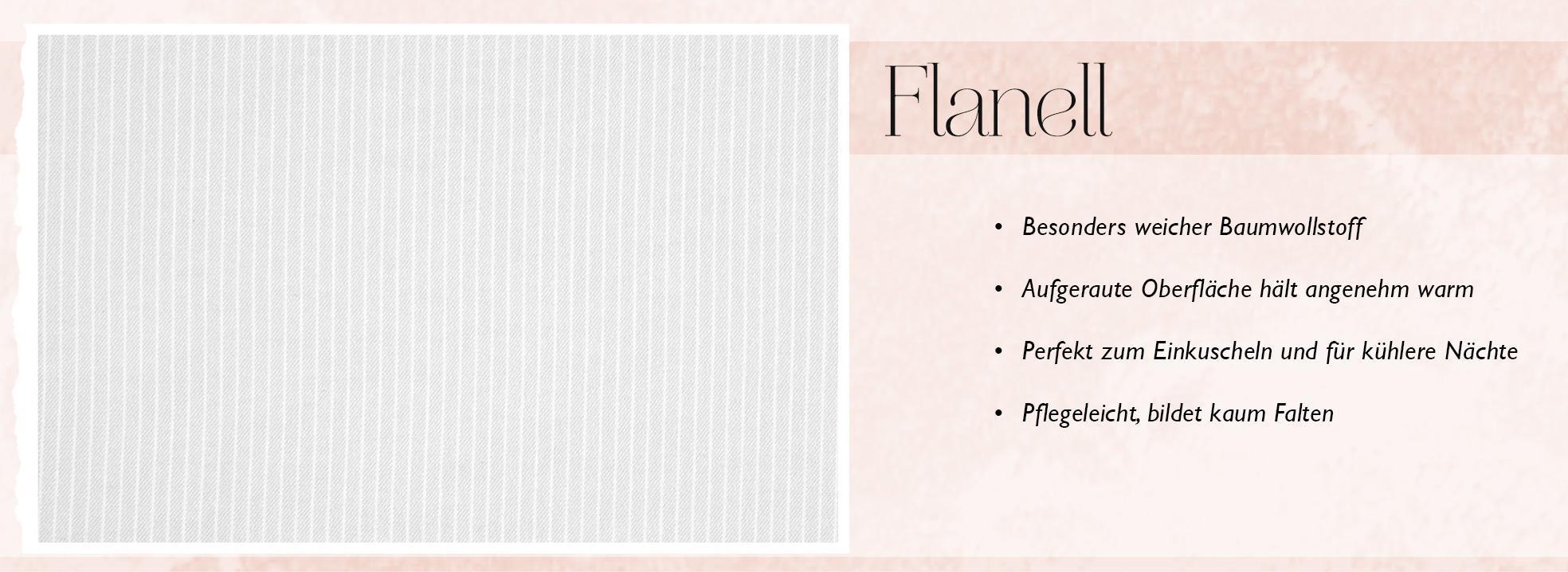 Infografik zu den Eigenschaften von Flanell Bettwäsche