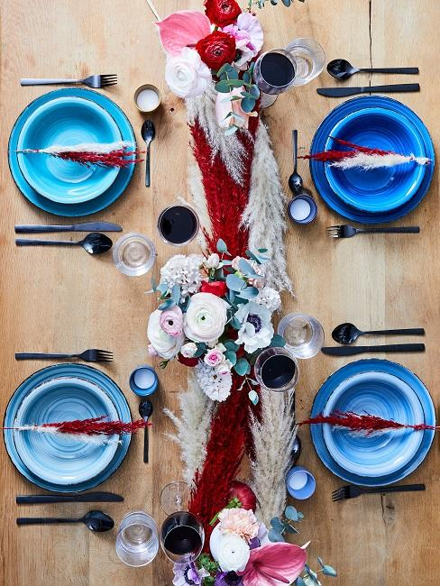 Blumen Tischdeko Blau Teller Boho