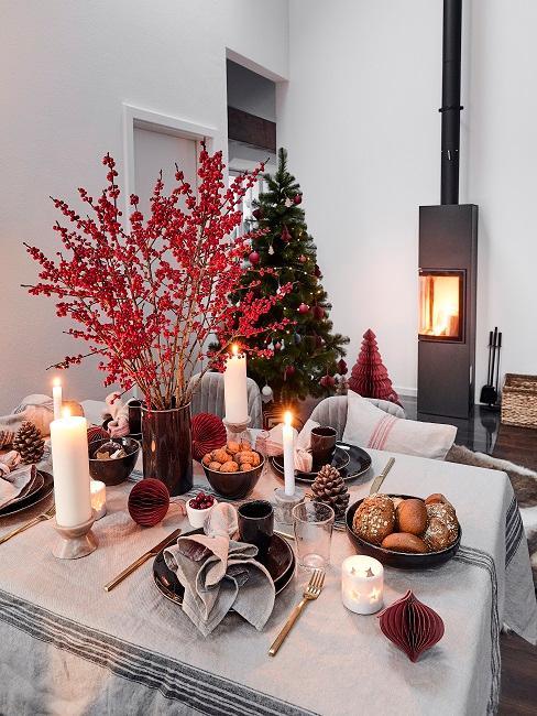 Tischdeko Schwarz-Weiß Rot Weihnachten