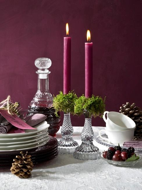 Tischdeko Lila Kerzen