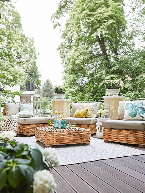 Salon de jardin meubles en rotin beau tapis gris