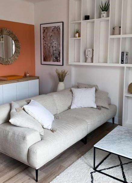 Home tour @coralineball salon avec canapé crème