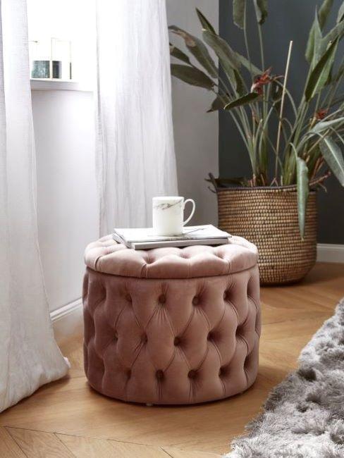 pouf rosa antico