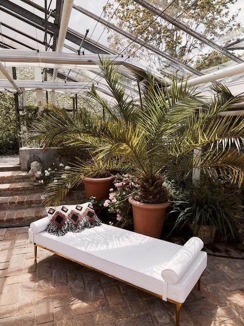 Urban Jungle header kas met planten en wit loungebed