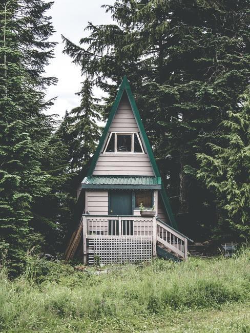 Wit tiny house met groen puntdak in bosrijke omgeving